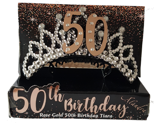 50th Gold Boxed Birthday Tiara
